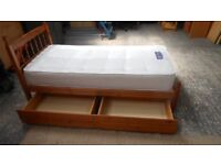 gorgeous solid pine single bed with solid underbed drawers on wheelsfor storage . can deliver