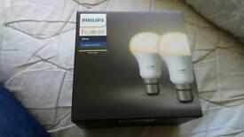 New Philips hue b22 smart wifi bulbs twin pack works with google home, amazon echo, etc RRP £25