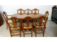 Extendable Dining Table and 8 Chairs for Sale