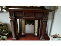 Solid mahogany fire surround with mirror