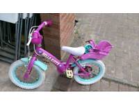 Girls bike with stabilisers 14""