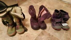 Baby girl winter shoes (size 3, 5G and 8)