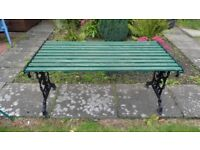 METAL & PAINTED WOODEN GARDEN TABLE - IN GOOD USED CONDITION