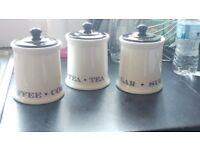 Tea coffee sugar canister jars