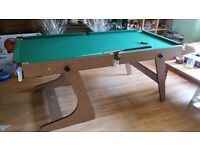 5 foot Hy-pro folding pool & snooker table with balls and cues