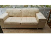 2 seater and 3 seater cream leather sofa for sale. Excellent condition. £300 for both