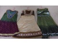 3 different girls three piece indian dress - fits approx age 5-7. From smoke & pet free home