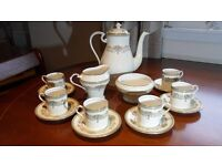 Aynsley Henley Bone China Coffee Set, includes Pot, 6 Cups/Saucers, Cream and Sugar Bowl New/Unused