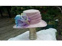 Wedding/Occasion hat - Jacques Vert, Lilac/Mauve with multi trim