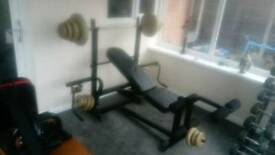 Weight bench and 54kg of weights