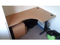 Office corner desk, chair 3 drawer filing cabinet with lock and keys