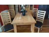 Beautiful solid oak farmhouse style dining table with chairs