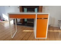 Ikea desk/ computer desk, white & orange - really good condition £20 ono