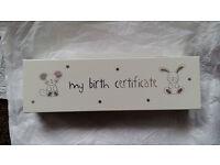 Birth certificate box/ holder