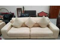 Cream real leather 4 seater and 3 seater sofa can deliver 07808222995