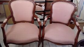 REDUCED MUST SELL Pair of quality upholstered french louis style carver chairs - project?