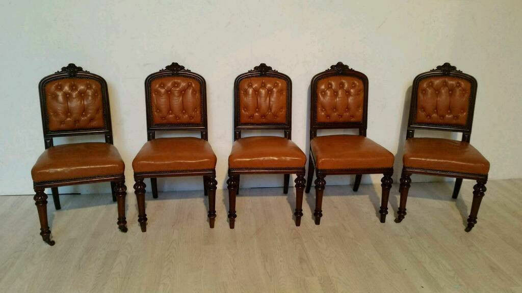 Set of 5 Victorian Mahogany Button Back Leather Dining Chairs