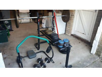 Weight lifting bench, Barbells, dumbells, weights discs and Abs Cradle