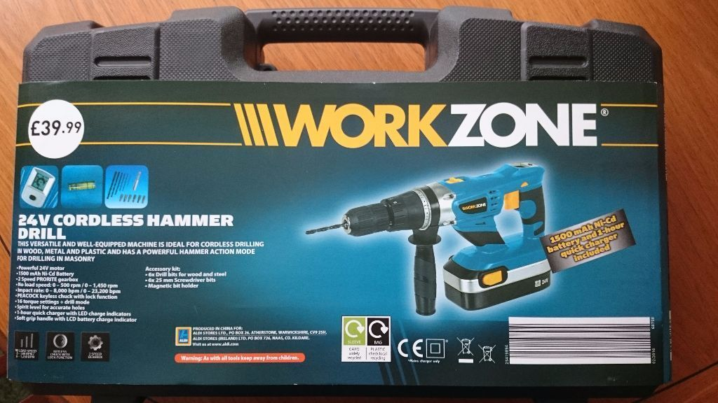 Work Zone 24v Cordless Hammer Drill Brand New Never Used