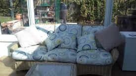 5 piece wicker conservatory suite, 3 seater sofa, chair, stool, coffee table