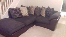Corner/L-shape sofa/couch brown (dfs)