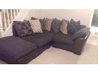 Corner/L-shape sofa/couch brown (dfs)