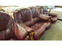 Dark Red Leather Sofa - Good Condition