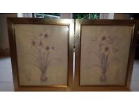 Two 'flowers in a vase' framed prints