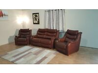 Ex-display P.K. Denver antique brown leather 2 seater sofa and 2 armchairs