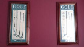 A PAIR OF MAHOGANY FRAMED GOLF PICTURES