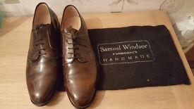 SAMUEL WINDSOR HANDMADE MEN's BROWN LEATHER SHOES SIZE UK12
