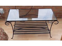 Wrought iron glass topped coffee table (conservatory furniture)
