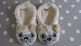 Pug Cosy Slippers - Size Small (Adult 3-4)