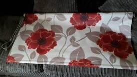 Window roller blind red flowers