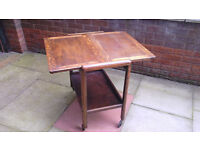 Unusual Oak table trolley or Tea for Two?