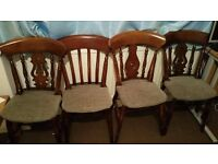 Antique style beautiful 4 dining table chairs in excellent condition