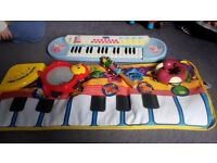Musical toys; peppa pig keyboard, piano carpet, tamborine etc.