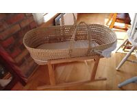 Moses basket with Little Green Sheep mattress and protectors