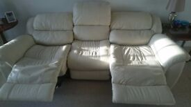 LA-Z-BOY 3 SEAT POWER RECLINER + 2 MANUAL RECLINER CHAIRS - Real LEATHER