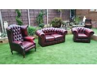 Chesterfield suite oxblood 2 seater queen anne and tub chairs
