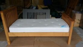 Julian Bowen single wooden bedstead and Sleepworks Barcelona mattress
