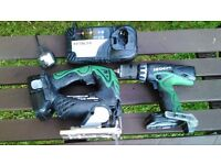 Hitachi drill and jigsaw battery and charger