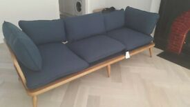 Anthropologie Ercol-style 3-seater sofa – navy blue with wooden frame