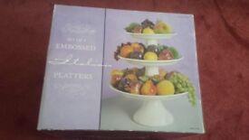 Set of 3 Embossed Italian Platters BRAND NEW