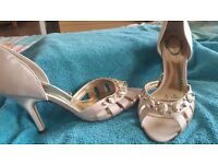 Ladies gold satin shoes