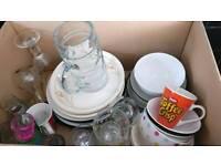Joblot of kitchen crockery and glassware