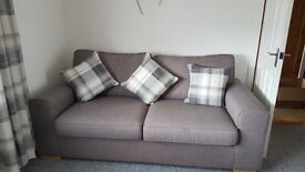 3 seater sofa, 2 chairs & large storage pouffe.