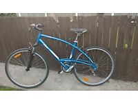 crossover hybrid mountain bike 29er light fast with suspension and index gears