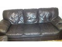 Brown leather sofa, chair and footstool