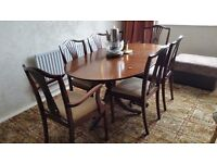 Mahogany Extendable Dining Table with Six Chairs